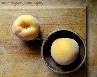 Rustic Home Decor, Peach Still Life, Fruit Kitchen Art, Peach Print, Farmhouse Decor, Yellow Kitchen Decor, Country Decor, Food Photography