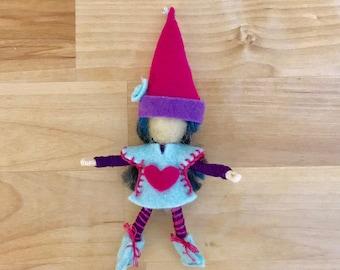 Pink and Teal Felt Gnome Bendy Doll, Small Felt Fairy, Dollhouse Fairy, OOAK, Handmade, Waldorf fairy, Wee Folk, Woodland Fairy, Elf