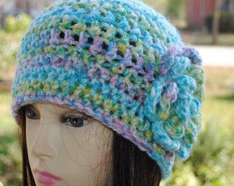 Handmade Crochet, Flapper, Bucket, Cloche Hat 22 to 24 in Multi color