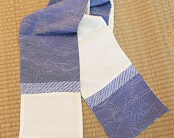 Blue-gray swirl motif, vintage Japanese silk kimono scarf, reversible