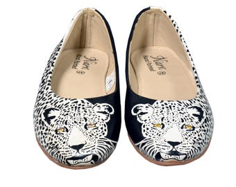 Hand Painted Genuine Leather Ballerinas - Confidence