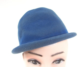 Vintage Royal Blue Asymmetrical Bowler / Derby Hat, Glenover and Pollar