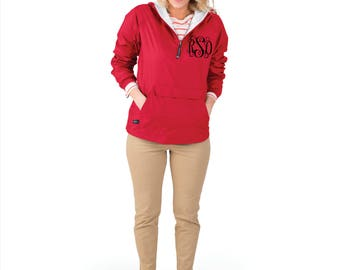 Red Monogrammed Personalized Half Zip Rain Jacket Pullover by Charles River Apparel