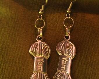 Earrings, ball of yarn or wool