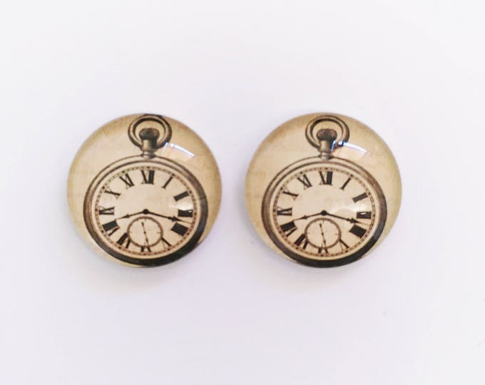 The 'On Time' Glass Earring Studs