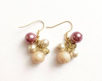 Gold and Blush Cluster Earrings- Gold Dangle Earrings-