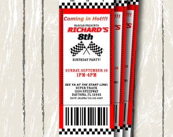 Race Car Ticket Invitation, Digital Invitation 2.5x7