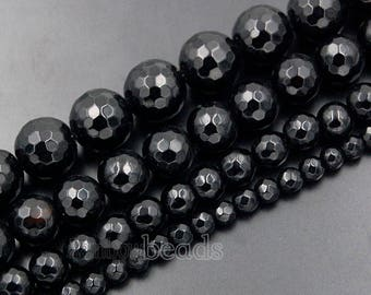 Natural Faceted Black Obsidian beads, 4mm 6mm 8mm 10mm Gemstone Beads, Stone Spacer Round Natural Beads, 15''5 strand