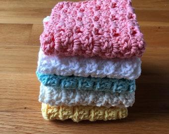 Handmade Cotton Crochet Washcloth Various Colors - Handmade Cotton Crochet Dishcloth Various Colors - Handmade Cotton Baby WashCloth