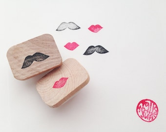 small lips and mustache rubber stamp | planner stamp | diy wedding birthday stationery | craft gift for her | hand carved by talktothesun