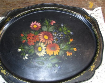 Vintage Tole Ware, Floral Oval Tin Serving Tray, Patio Flowers Home And Garden, Dining Barware, Cottage Chic Tin Tray