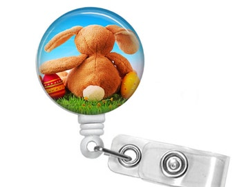 Waiting for Spring, Retractable ID Badge Reel, easter, bunny