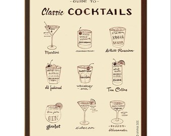 Mens Christmas Gift Idea, Classic Cocktails Guide, 1960s Drinks, Mid Century Modern, Illustration Art Print, Vintage Style, Alcohol Bar Art