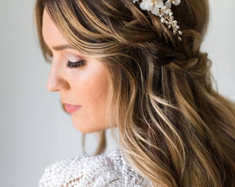 Flower Hair Comb Pearl Hair Comb Gold Bridal Hair Comb Gold Flower Hair Comb Mother of Pearl Comb Beaded Hair Comb Butterfly Headpiece #156