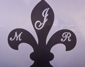 Fleur De Lis wedding cake topper - Three letter Monogram French Cake Topper - Fleur de lis monogram topper