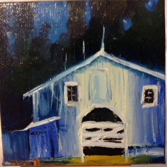 Barn, Nocturne, Tiny art, Moonlight Painting,  Summer Art, Landscape Painting, Miniatures