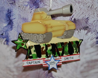 Personalized Army Tank Christmas Ornament