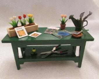 Summer Flower Garden Bench Dollhouse Miniature