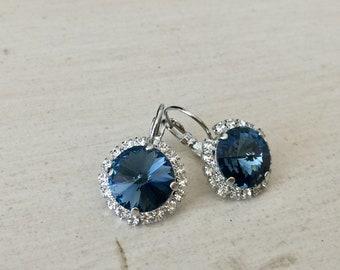 Denim Blue Swarovski Crystal Halo Earrings, Silver