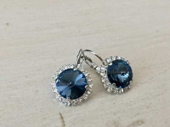 Denim Blue Swarovski Crystal Halo Earrings, Silver