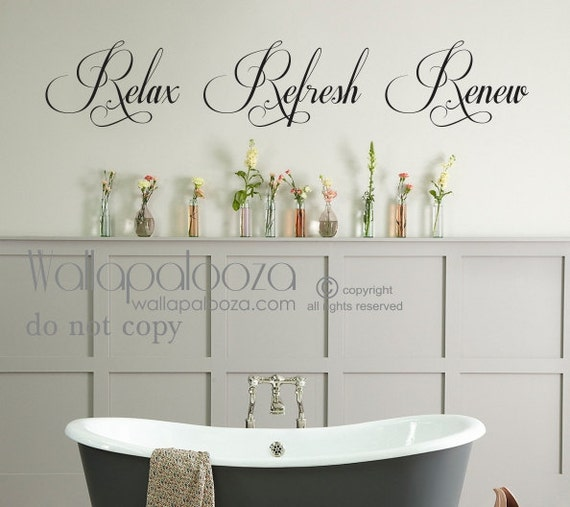 Bathroom wall art Bathroom Wall Decal Relax Refresh Renew