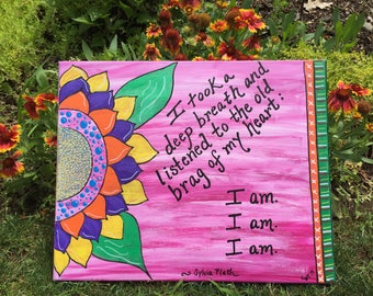 Sylvia Plath Custom Painting; Only one of its kind; poetry quote