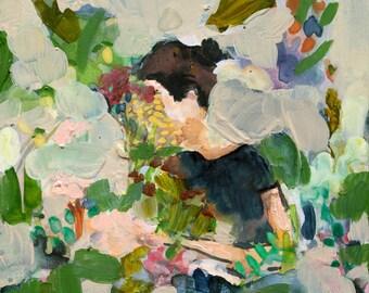 In the Garden - Giclee Art Print, Flowers, Garden Art, Botanical Wall Art, Large Art Prints