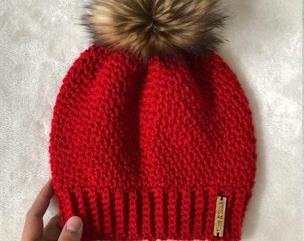 The Crochet Bella Beanie with Faux Fur Pom Pom | Scarlet | Red