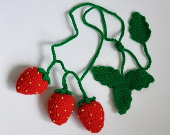 Crochet Strawberry Necklace