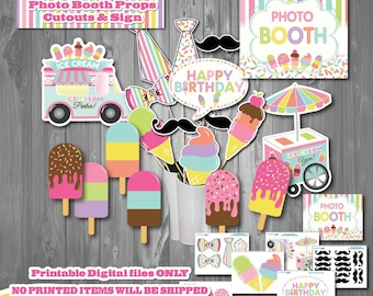 Ice Cream Birthday Photo Booth Props-Printable Ice Cream Party Photo Booth Props-Popsicle Party-Summer Ice Cream Birthday-Pool Party