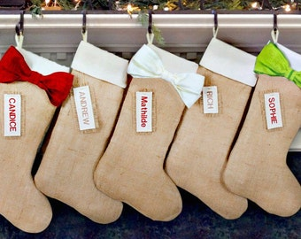 Personalized Burlap Christmas Stockings - Burlap Christmas Stockings, Personalized Christmas Stockings, burlap