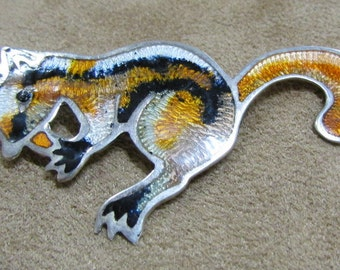 Sterling Silver and Enamel Squirrel Pin From Mexico