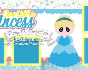 Scrapbook Page Kit Our Princess Girl Cinderella 2 page Scrapbook Layout Kit 108