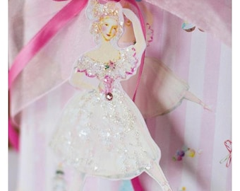 Marie Antoinette Sugarplum Fairy Christmas Nutcracker Pink Candyland Gift Wrap and Die Cut Tags 8 Piece Set