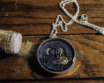 Outer Space Resin Pendant