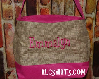 Pink Burlap Easter Basket. Monogrammed Easter Basket. Monogram Easter Basket. Easter Basket. Monogram Easter Basket. Burlap Basket. Burlap