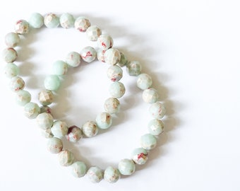 Floral Beads bracelet, Minimalist Jewelry, floral stone bracelet, simple bracelet, bridal bracelets, gift for her, gift for friends