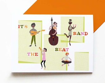 It's the Beat Band - retro greetings card