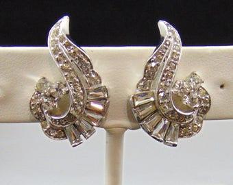 Vintage Jomaz Clear Rhinestone Clip Earrings in Silvertone