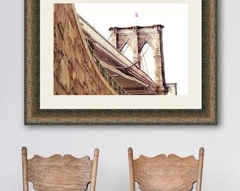Brooklyn Bridge Print, New York City Print, Neutral Wall Art, Brooklyn Bridge Art, NYC Wall Art, NYC Print, Travel Photography, Beige