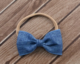 Denim Bow Headband, Bow Nylon Headband, Denim Bow on Headband, Denim Burlap Hair Bow, Blue Bow Headband, Baby Nylon Headband, Blue Bow