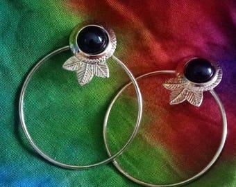 1980s Tribal Front Hoop Earrings