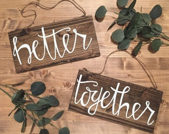 Better together rustic wood signs, wedding decor, country wedding, home decor, mr and mrs