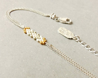 "Cream bracelet 925 Sterling Silver ""Snowflake"" color"