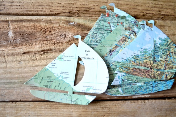 Vintage Map Sailboat Confetti, choose from 30 or 50 pieces