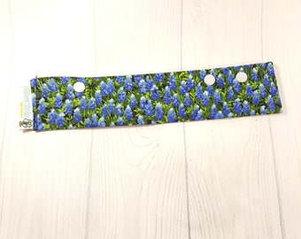 """Long Needle Cozy DPN Holder, Bluebonnets Field project holder 9""""x2"""" - (Hold up to 8"""" Needles) NCL0056"""