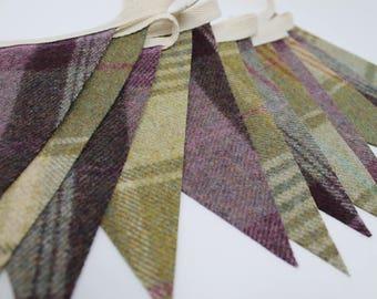 Fabric Bunting, Tweed Bunting, Green & Purple Bunting, Pennant Flags, Wedding Bunting, Moon Tweed Bunting, Tartan Bunting, Plaid Bunting