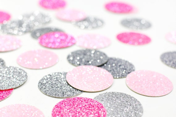 "Light Pink + Neon Pink + Silver Glitter Confetti - 1"" - Wedding. Bachelorette Party. Bridal Shower. Baby Shower. Engagement. First Birthday."