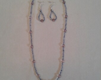 Purple and gray glass pendant necklace