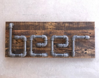 Industrial Style Steel Pipe Beer Sign Made With Rustic Reclaimed Wood, Gift For Him, Christmas Gift, Birthday Gift, Gift For Men, Mancave